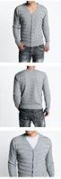 Free Shipping 1pc 100% Cotton V-neck Full Fashion Slim Knitted Men's Designer Sweater  black,LTgrey,DK Grey M-XXL Wholesale