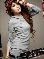 Футболка Free shipping cotton hooded long sleeve skull t shirt women Gray/White/Black Free size