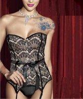 Комплект нижнего белья Women's Classic Vintage Strapless Lace Up Corset Bustier G-String Garter Belt