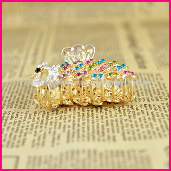 2013 Fashion Accessories Peacock Rhinestone Hair Claw