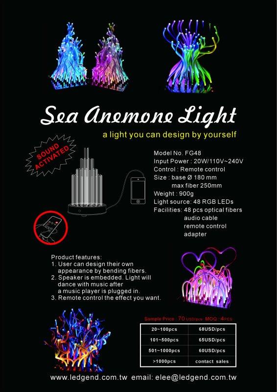 Sea Anemone fiber light with 48pcs RGB LED