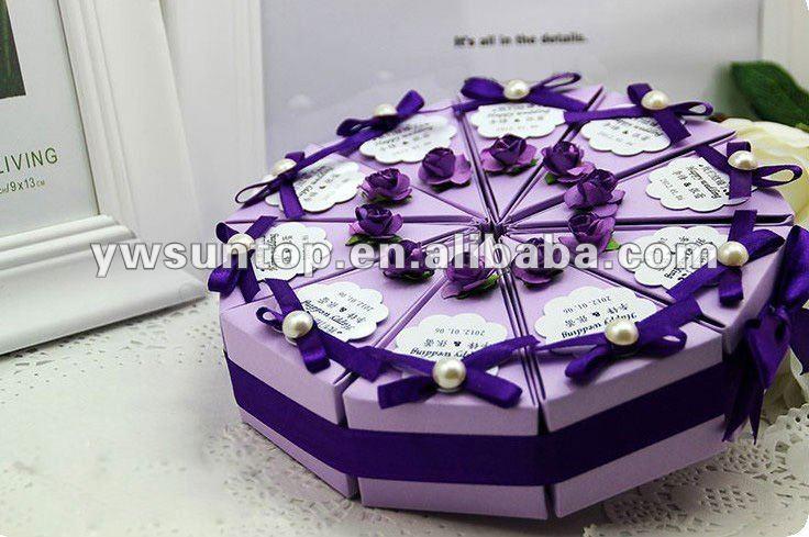Date L Gant Triangle R Unissant Violet G Teau De Mariage Bo Te De Bonbons Caisses D 39 Emballage