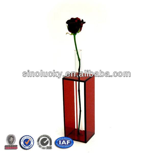 Black Frame Acrylic Vase, Tube Acrylic Flower Vases