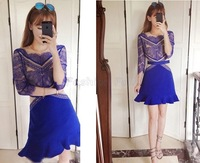 Spring New Designer Fashion Women Hot Sale Blue Contrast Hollow Three Quarter Length Sleeve Eyelash Lace Ruffle Vintage Dress
