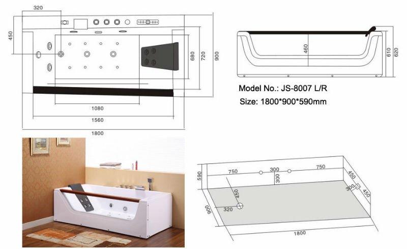 Single pillow whirlpool bathtub JS-8007