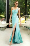 Платье для подружки невестыBeaded Tulle with High Side Front Slit Light Champagne With Gold Navy Stones Prom Dress Women