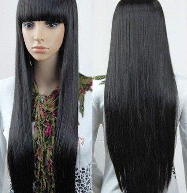 com : Buy Beautiful long long black hair straight human made Wig wigs ...