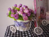Искусственные цветы для дома Furnishings wicher simulation rattan tricycle flower set artificial rose flower home decoration multicolor