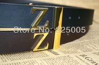 Женская одежда из кожи Newest men's Z Letter smooth buckle women's Genuine Leather Belts fashion mens black/brown cowskin belt 115cm