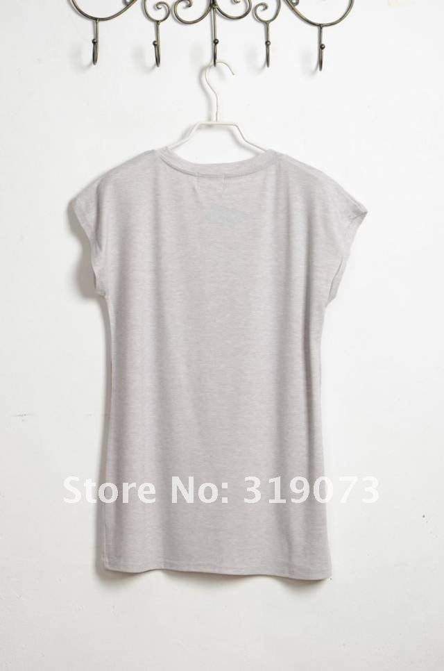 2012  new arrive free shipping fashion women t shirt restore ancient ways personality girl printing cotton tops for women