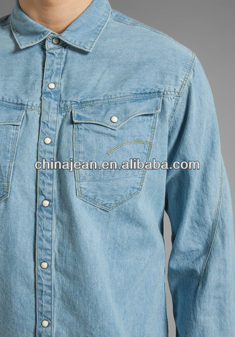 2015 top quality fashion mens denim shirt JXQ361