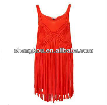sexy spaghetti straps tassels designer red dresses .celebrity cotton dress, women fashion holiday and beach dress