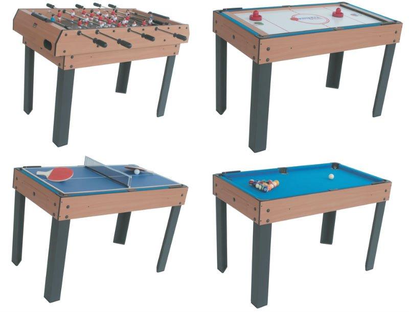 4 En 1 Fonctionnelle Table De Jeu Mini Piscine Football Air Hockey Tennis De Table De