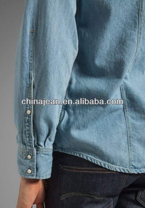 2014 top quality fashion mens denim shirt (JX3168)