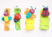 Cute Lamaze High-Contrast baby rattle baby toys Lamaze Garden Bug Wrist Rattle + Foot Socks 4 pcs/set