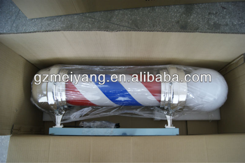 rotating cylinder chromed plated classical shop light pole barber pole sign,
