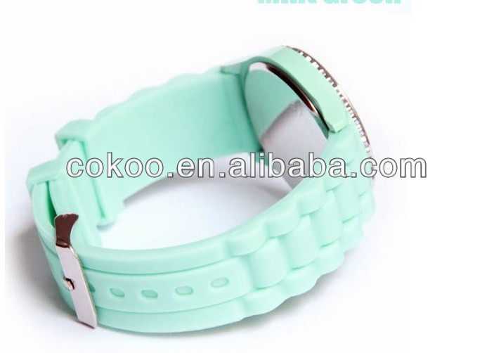 2013 Wholesale Fashion Jelly Silicone Classic Gel Crystal Wrist Watch Quartz Lady Women Girls Mint Green H135 Christmas gift