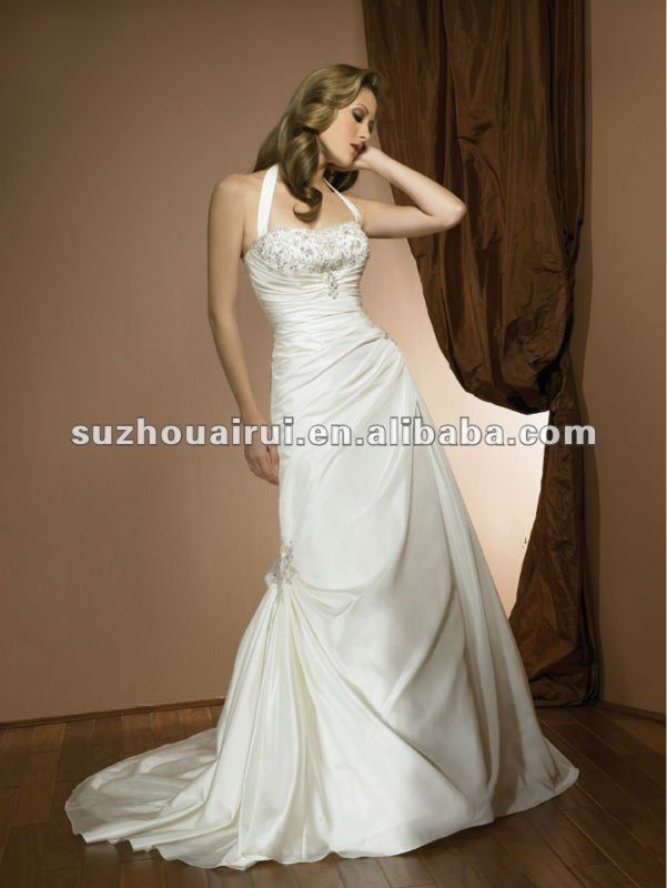 2303f Halter neck Taffeta A-line lace Up wedding Dress