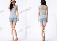 Lady Crew Neck Sexy Sleeveless Shirt Top Hollow-Out Vest Camisole Pierced Lace Four Colors free shipping 3749