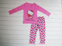 Комплект одежды для девочек 100% cotton Hello Kitty baby pajamas/2-piece set: long-sleeved top+gray pants/leopard pants