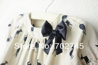 Платье для девочек Cherokee 0726 Girls Dresses Girl Clothes Printed Deer Cotton Fashion Bowknot Summer Dresses Khaki