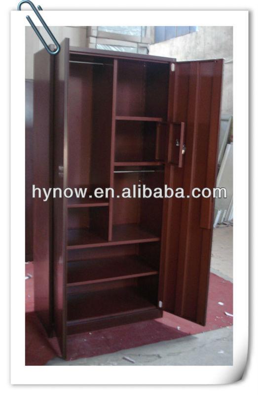 Two Door Steel Furniture Wood Grain Wardrobe Door Designs India - Buy ...