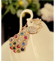 Браслет B123 Elegant gold plated fashion colorful rhinestone crystal peacock bracelets for women jewerly charm B4.35
