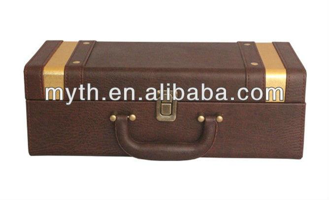 Hot selling gift box new single sticks grain bottle leather wine carrier(LWC003)