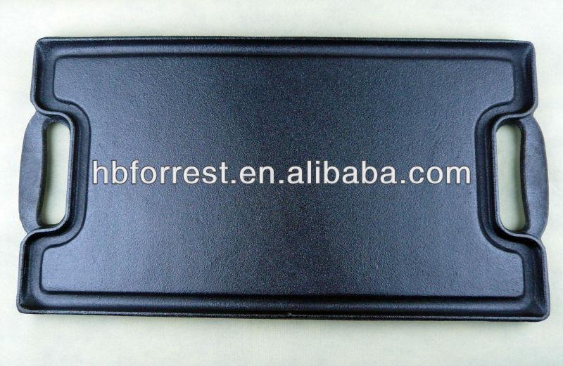 Ferro Fundido retangular placa grill carvão para churrasco
