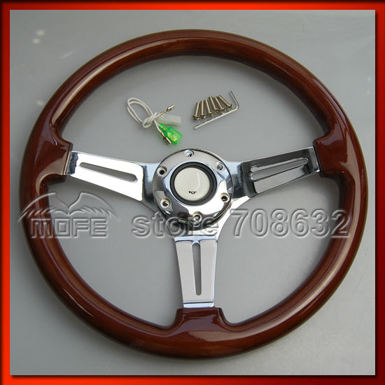 Universal 53mm Deep Corn Dish 3 Steel Spokes 350MM Wood Grain Steering Wheel For Sport Racing Car DSC_0578