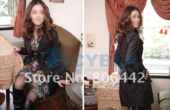 Yeni Moda Bayan �nce kruvaze Tren�kot, Casual ceket Uzun eskitmek + �cretsiz Kargo