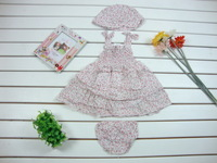 Baby girl 3-piece set: braces skirt Cute Princess Floral Dress + HAT + bread pants