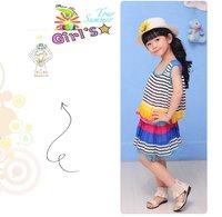Платье для девочек 2013 Girls Summer Cool Striped Sleeveless Light Blue Dresses, two colors K0066