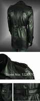 Free shipping mens high quality washed leather double-breasted, large lapel, leather trench coat