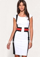 Женское платье womens Short Sleeve dress fashion Lady patchwork work dresses UK Size 8 10 12 14 16 high quality