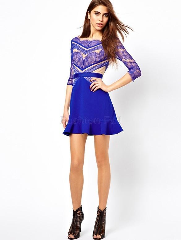 Женское платье Spring New Designer Fashion Women Blue Contrast Hollow Three Quarter Length Sleeve Eyelash Lace Ruffle Vintage Dress