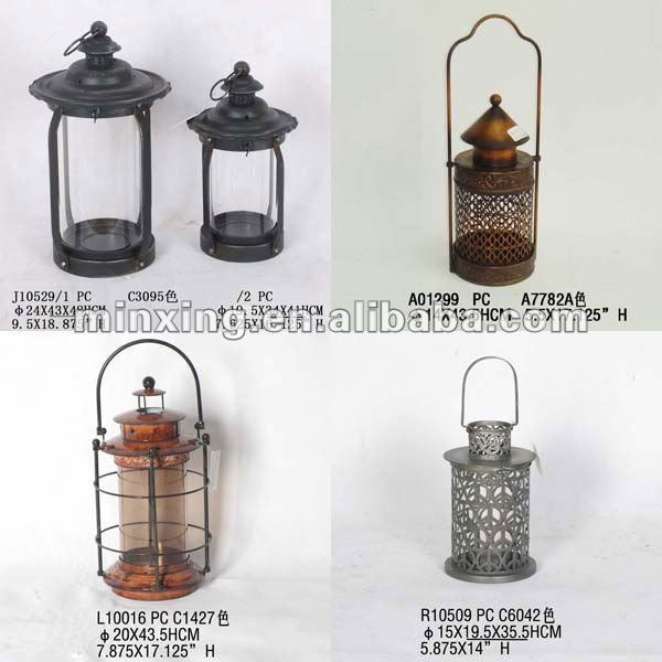 Cream metal hurricane lantern
