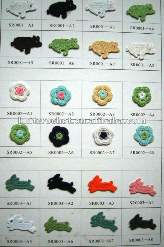 Crochet Cat Face Appliques, Crochet Animal Appliques (SRG1376 A1-A9)