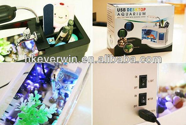 Hot selling usb mini desktop aquarium with clock and pen holder