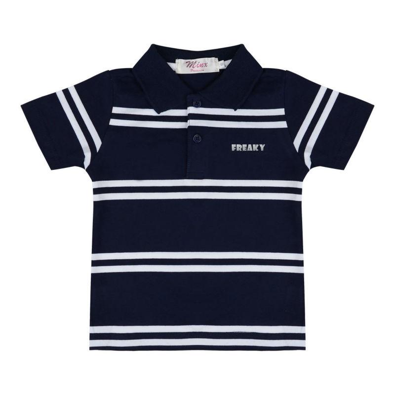 Blue Striped Polo Shirt Polo Shirt Navy Blue/white