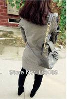 Fashion Design Punk style Women's Patchwork Faux Leather cortex shrug handsome long T-Shirts Blouse Dress Shirt HTCLLY033