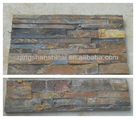 Rugueuse ardoise rouill e empil s ledgestone coin mur de carreaux de brique d - Panneau brique decorative ...