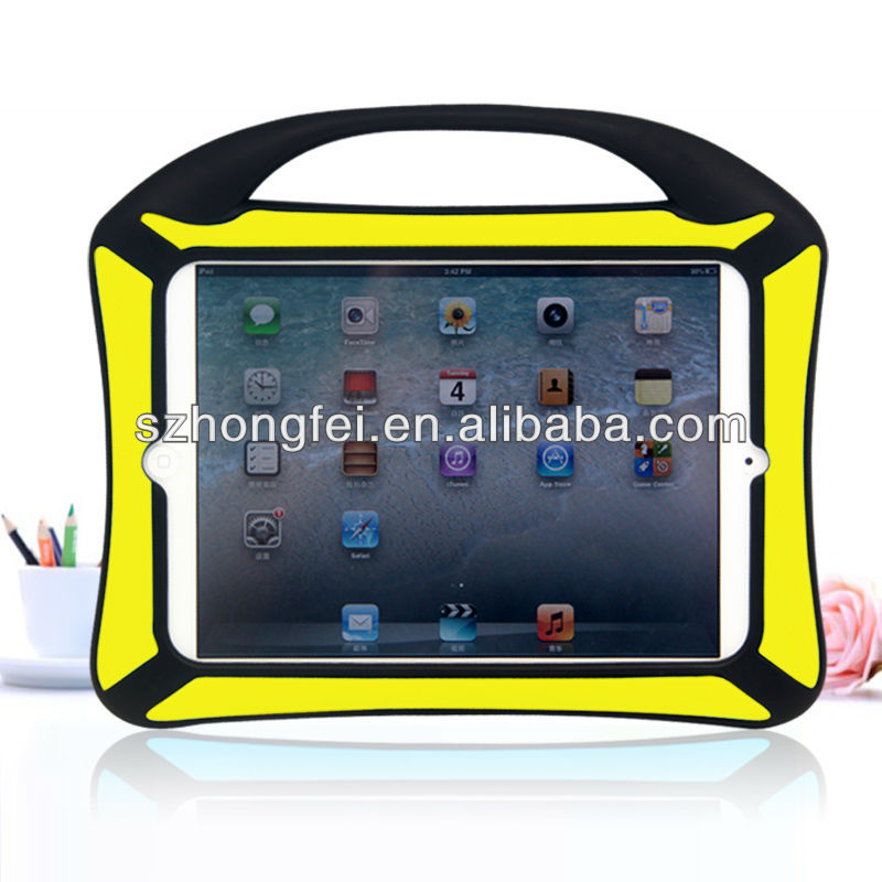 New design! Shockproof kids friendly double colors cute silicone case for ipad mini