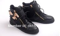 Оригинальный черный Джузеппе упали из телячьей кожи и патентных бронзовые высокой Топ женщин gz кроссовки/обувь стороны молнии в тон