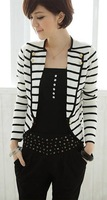 Женский костюм 2013 New Fashion Women's Blazers Coat Slim White Stripes Cardigan One Button Suit Outerwear Jacket WWX035
