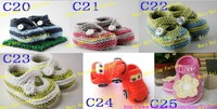 15pairs Baby crochet children shoes kids cute infant handmade sandals double sole cotton yarn 0-12M mix design custom EMS C