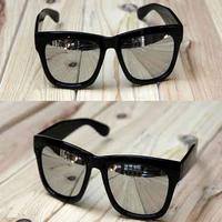 Женские солнцезащитные очки Retro 80s Classic Sunglasses Black Frame Silver/Golden Reflective Lens SL00071 DropShipping