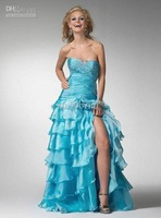 Wholesale - Bateall Strapless Layered Organza Ankle Length Prom Gowns Chic Beadings Evening Long Dresses YJ