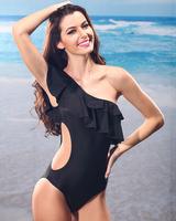 Новое высокое качество! Мода бикини Стальная башня обивка falbala мало одного плеча сексуальный купальник