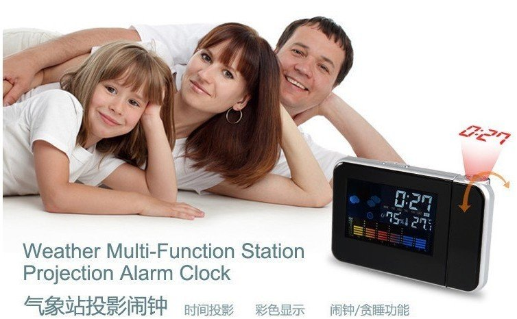 New LCD weather station Projection alarm clock with Calender good hot gift Free Shipping via EMS